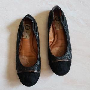 Lanvin Leather Cap toe calf hair ballet flat black